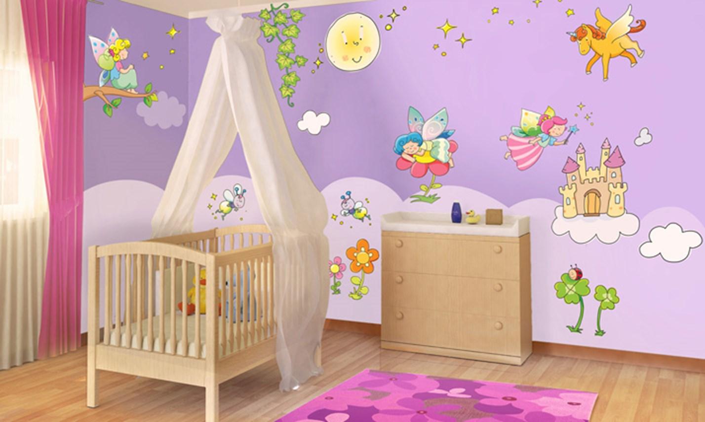 Stickers murali bambini cameretta le fatine dei fiori leostickers - Adesivi murali per camerette ...